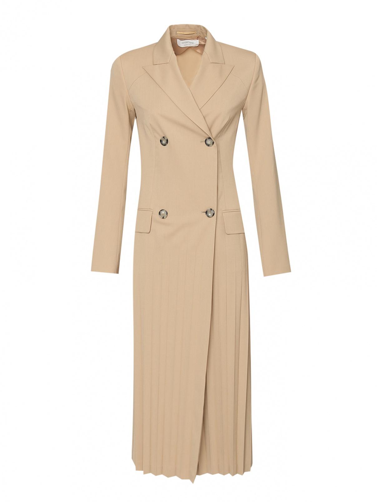 Двубортное платье из смешанной шерсти с плиссировкой Sportmax  –  Общий вид