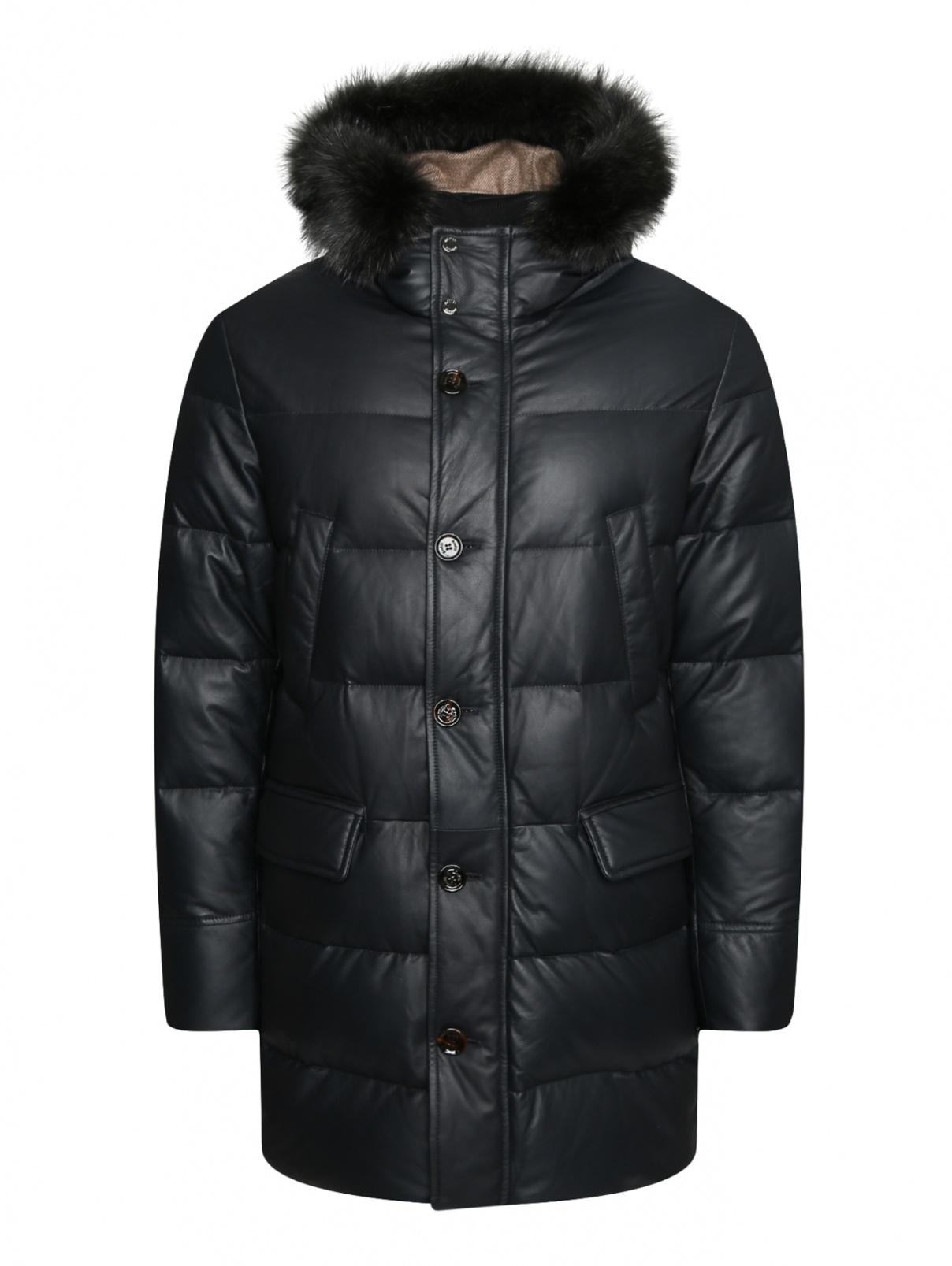 Стеганая куртка из кожи с меховой отделкой Moorer  –  Общий вид