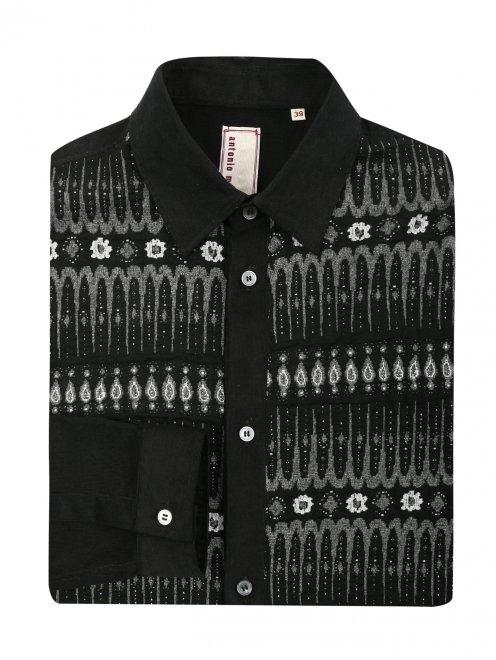 Рубашка вельветовая с узором - Общий вид