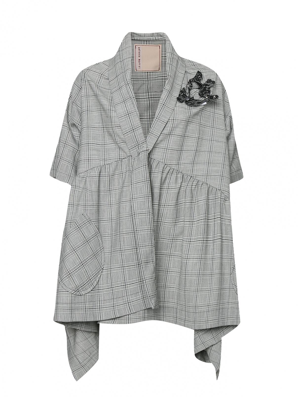 Пальто из смесовой шерсти в клетку с воланом Antonio Marras  –  Общий вид