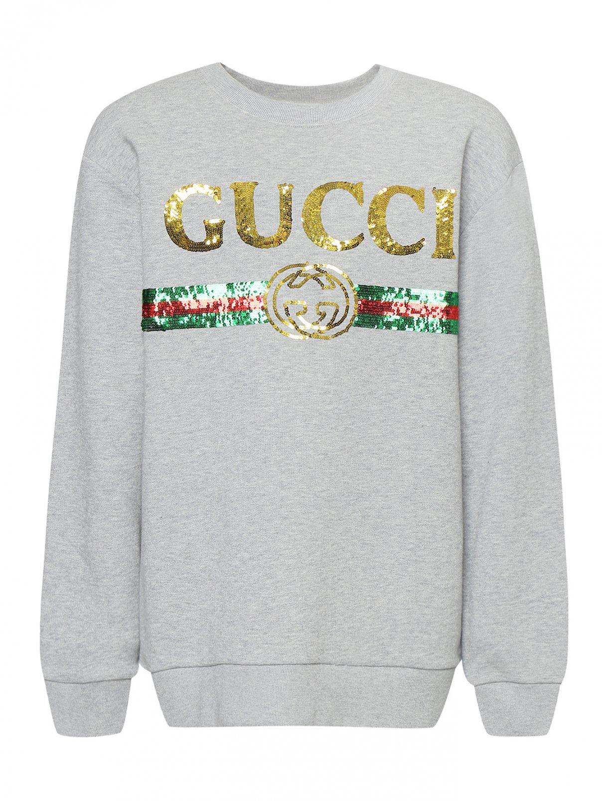 Свитшот удлиненный с пайетками Gucci  –  Общий вид