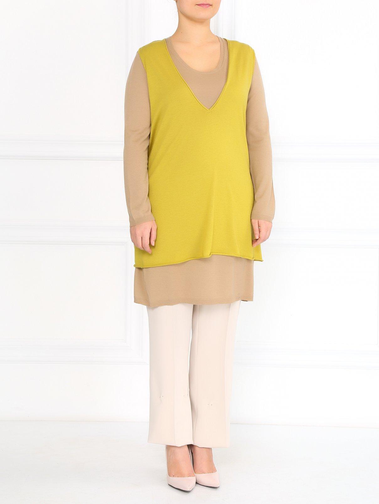 Прямые брюки на резинке с боковыми карманами Marina Rinaldi  –  Модель Общий вид