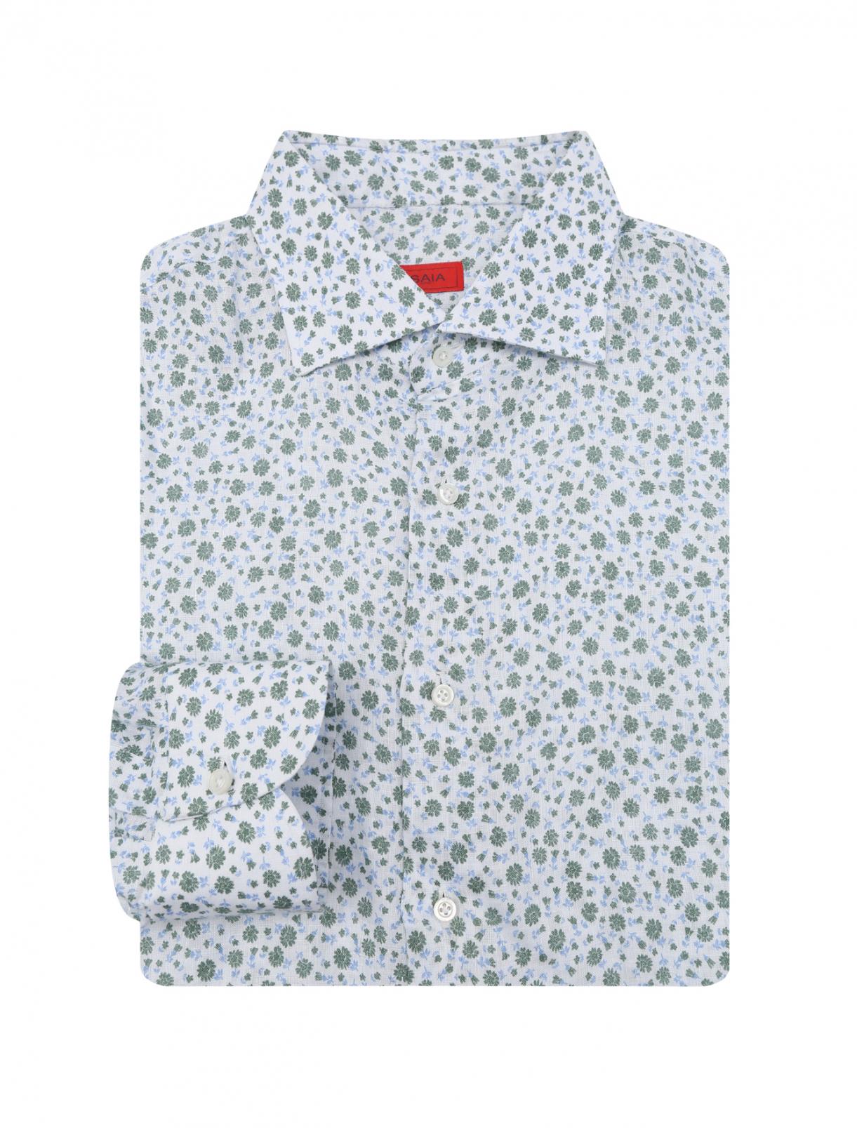 Рубашка из хлопка с цветочным принтом Isaia  –  Общий вид