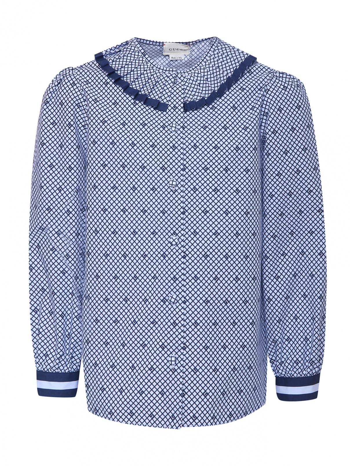 Блуза из хлопка с воротником-плиссе Gucci  –  Общий вид