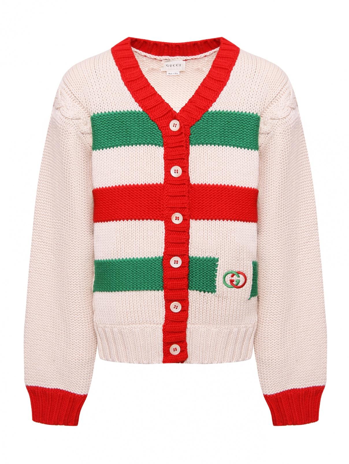 Кардиган из шерсти с вышитым логотипом Gucci  –  Общий вид