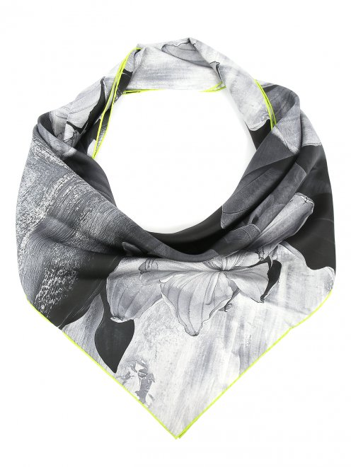 Платок из шелка с узором и контрастной отделкой Innangelo  - Общий вид