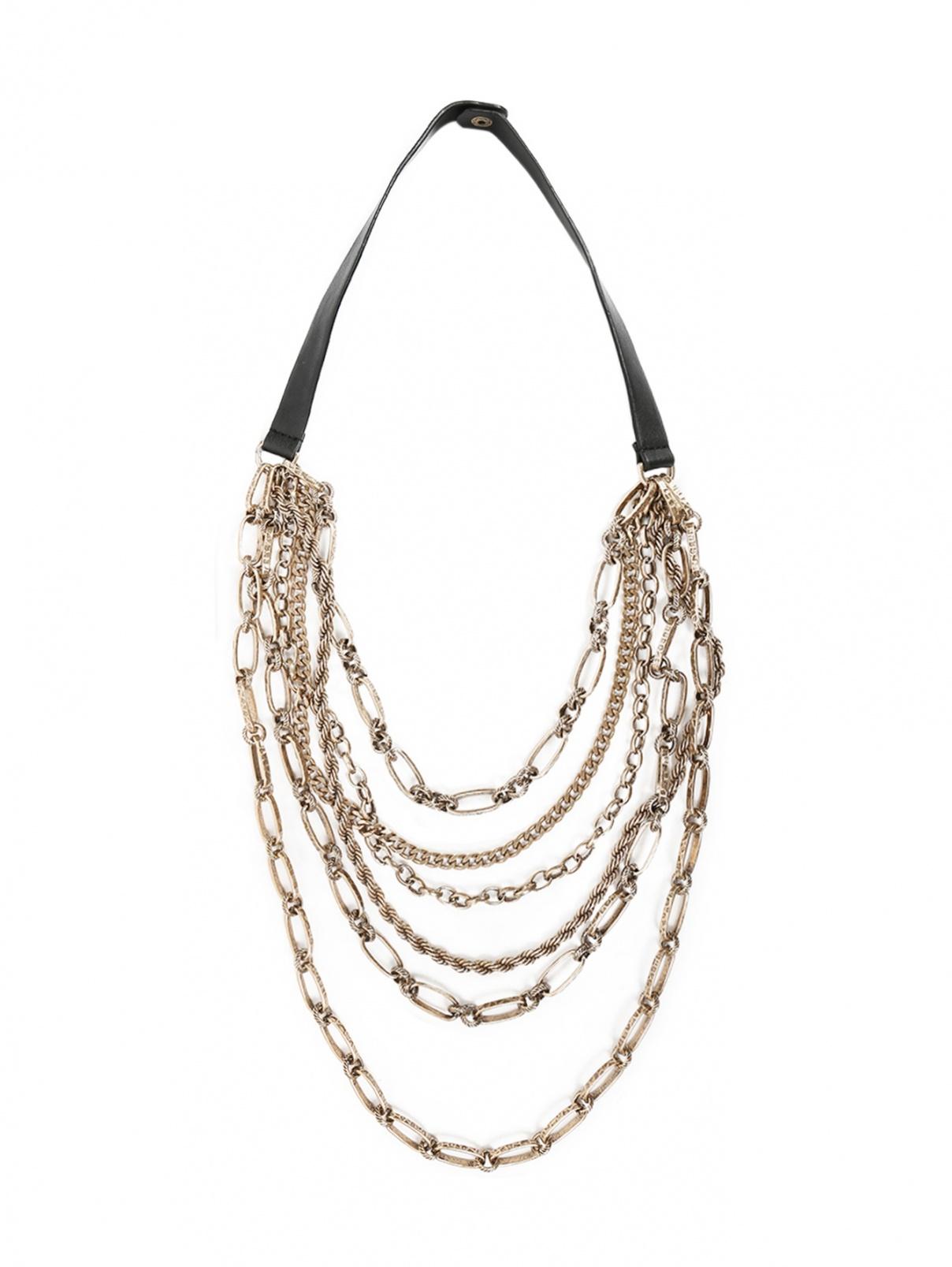 Ожерелье из цепей и кожи Persona by Marina Rinaldi  –  Общий вид