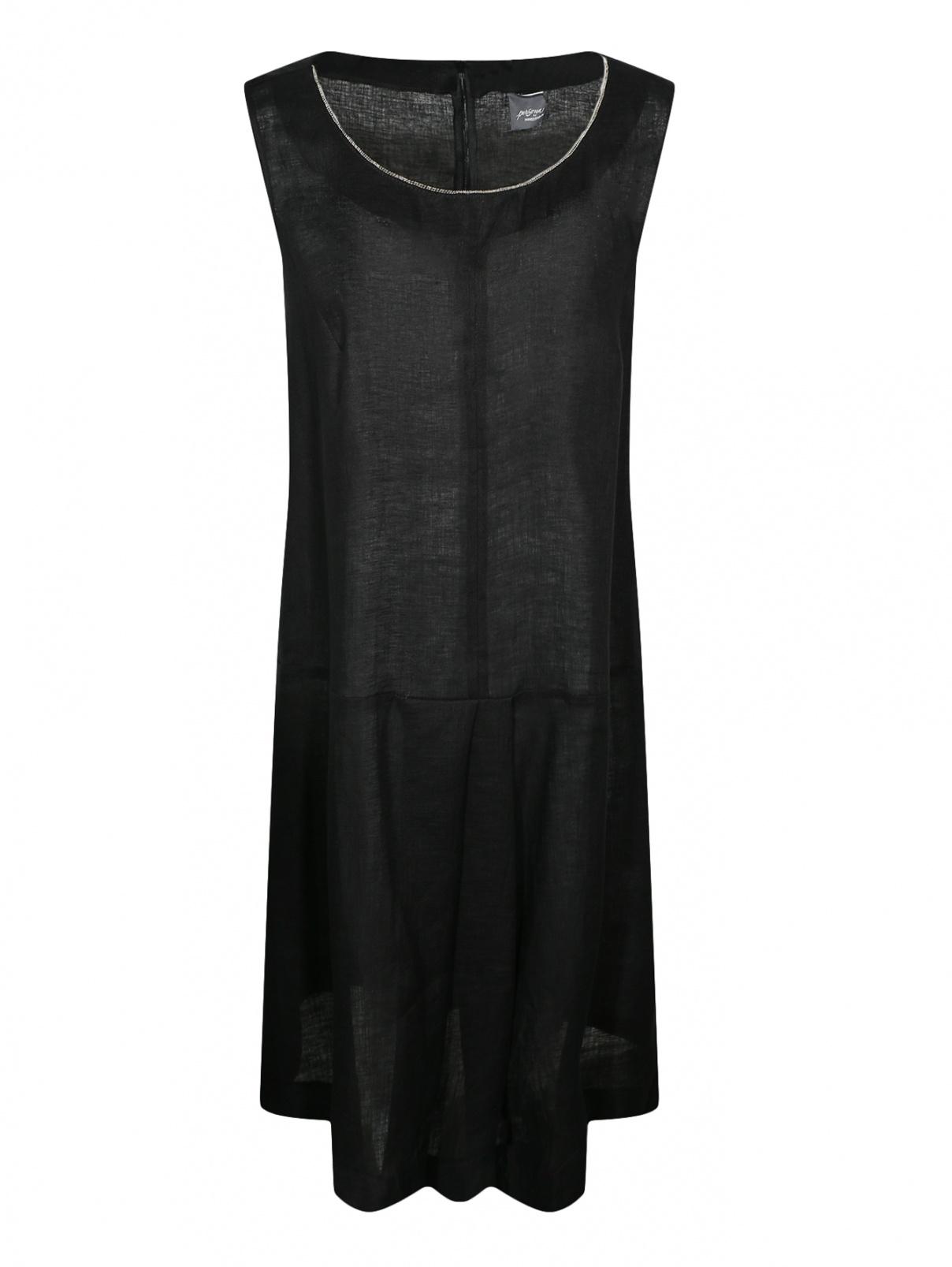 Платье из льна с декоративной отделкой без рукавов Marina Rinaldi  –  Общий вид