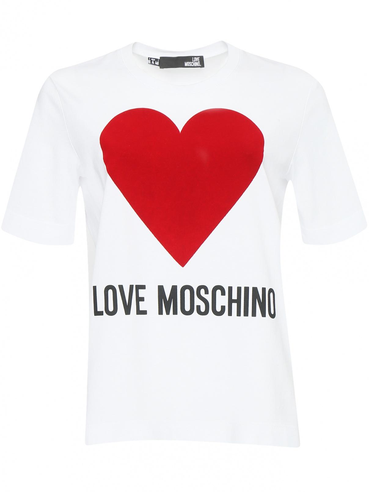 Футболка из хлопка свободного кроя с принтом Love Moschino  –  Общий вид