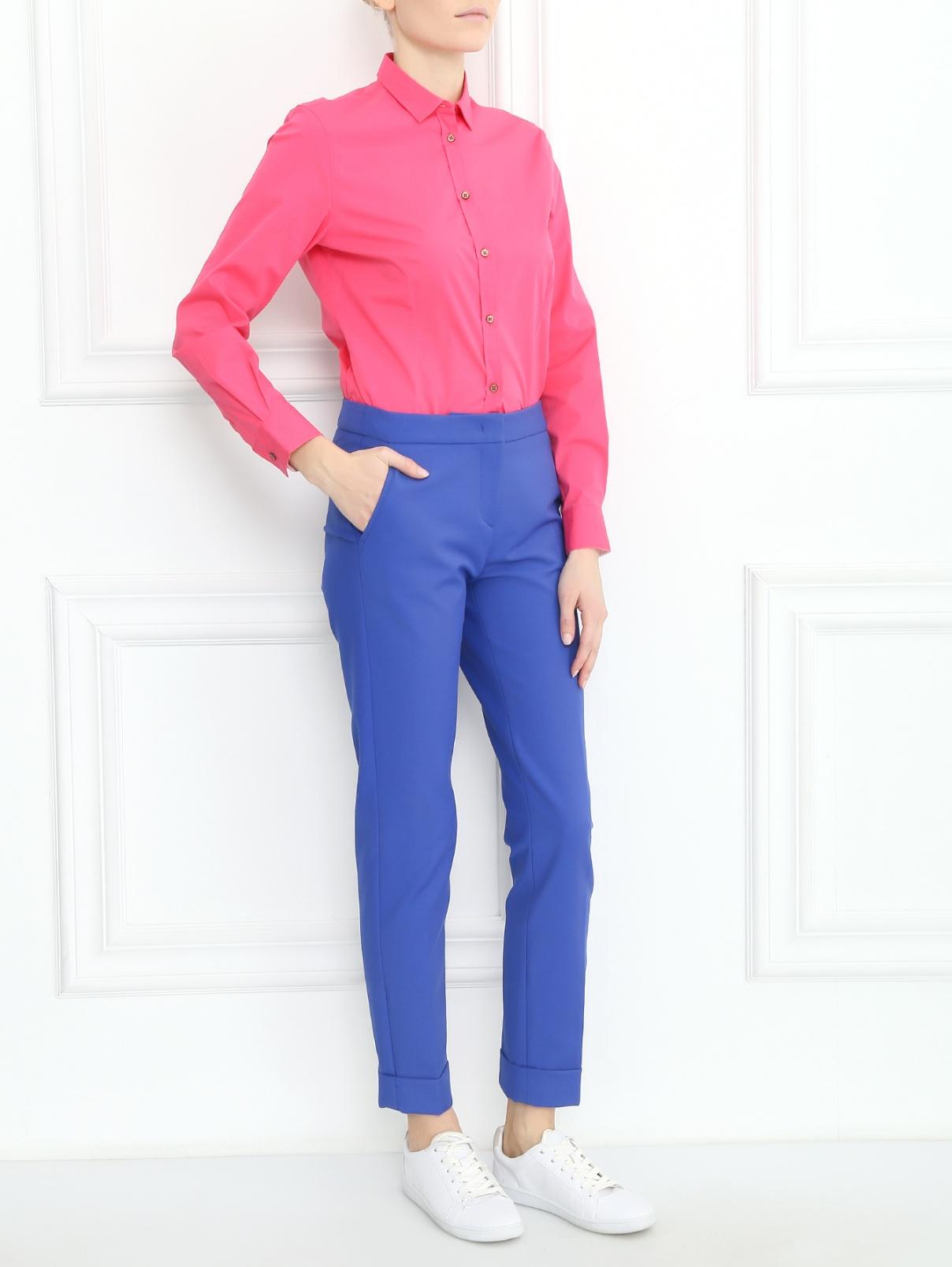Зауженные брюки из смешанного хлопка Armani Collezioni  –  Модель Общий вид