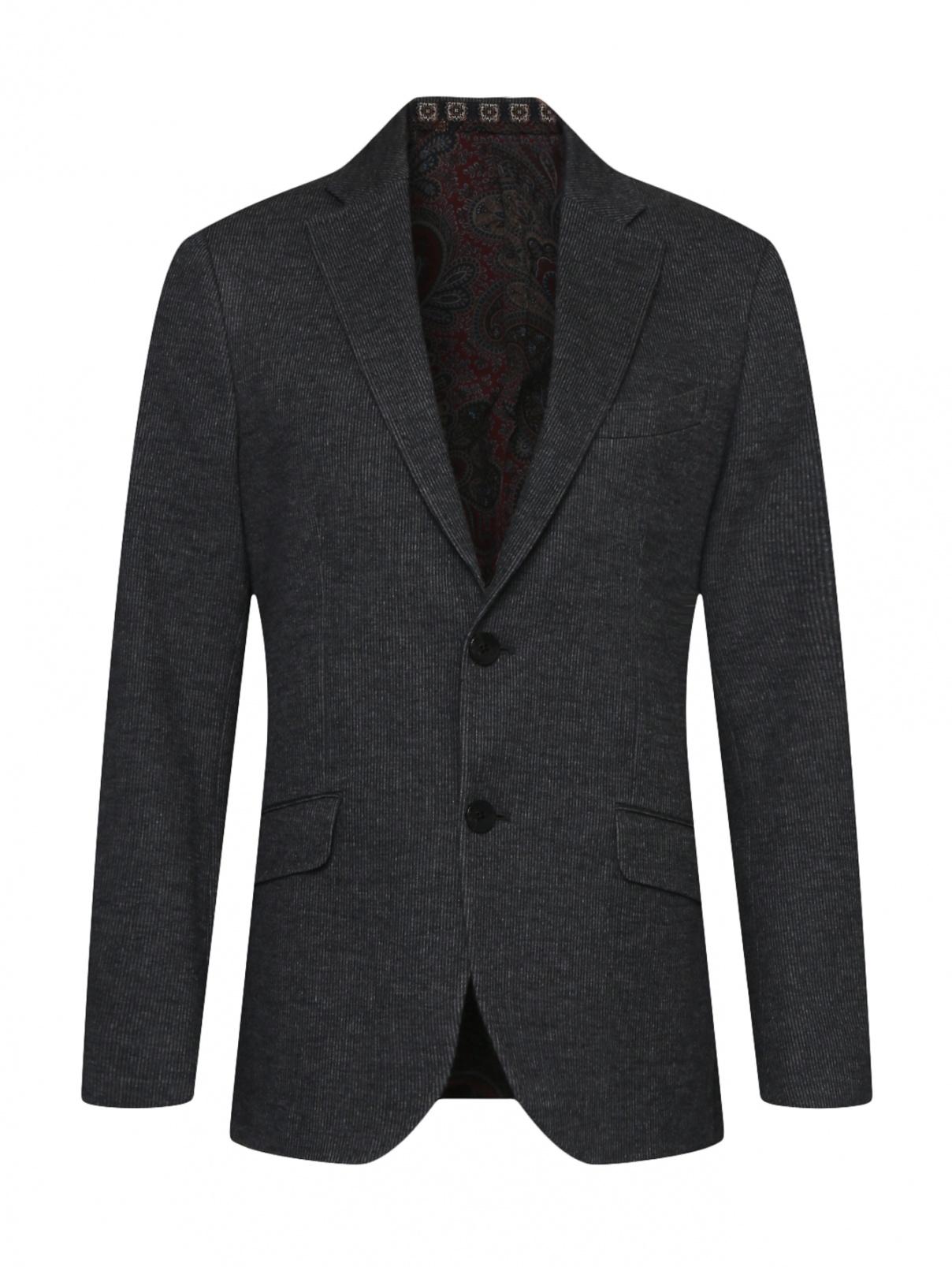 Пиджак однобортный  из шерсти и хлопка Etro  –  Общий вид