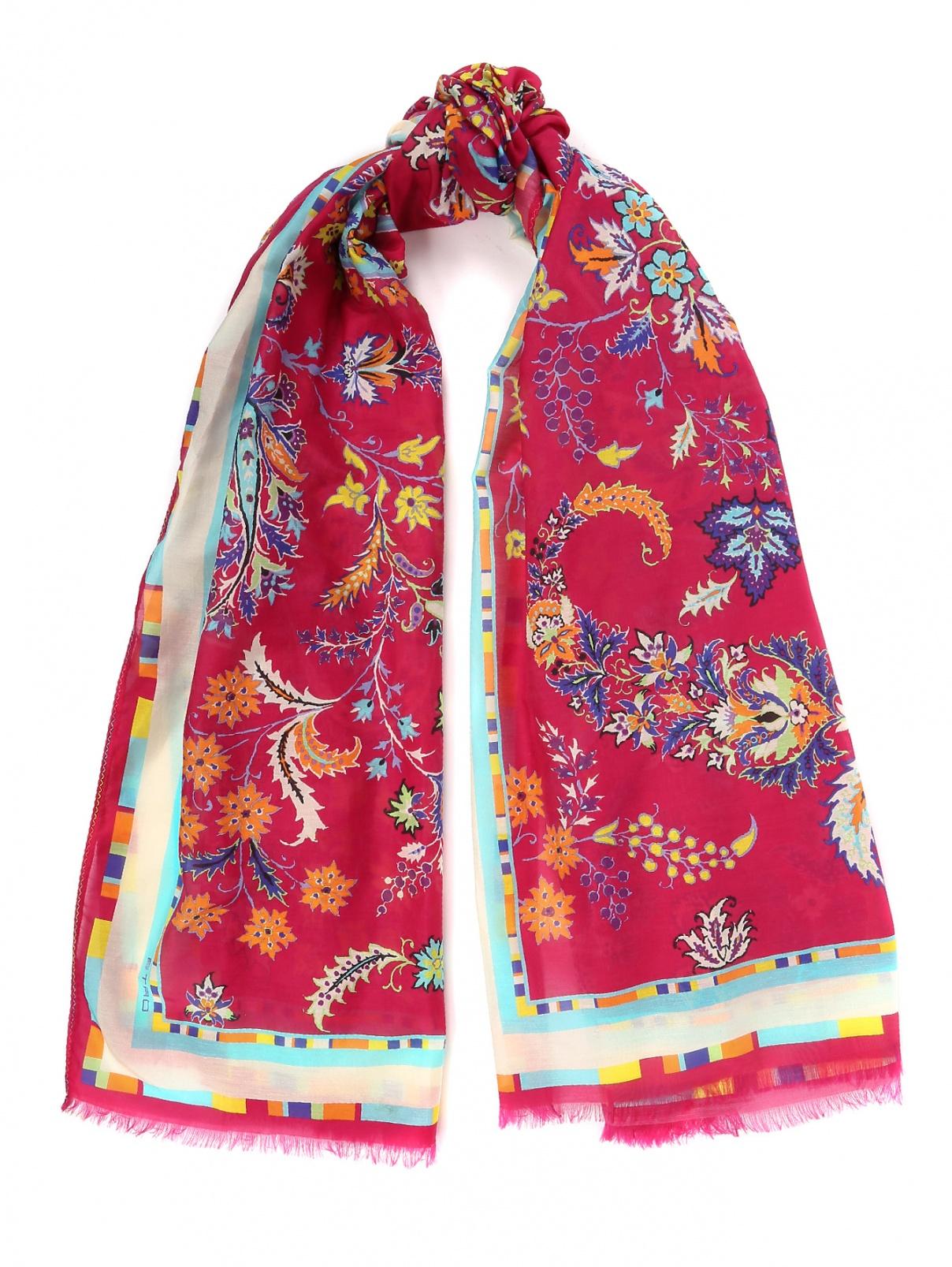 Платок из шелка, с цветочным узором Etro  –  Общий вид