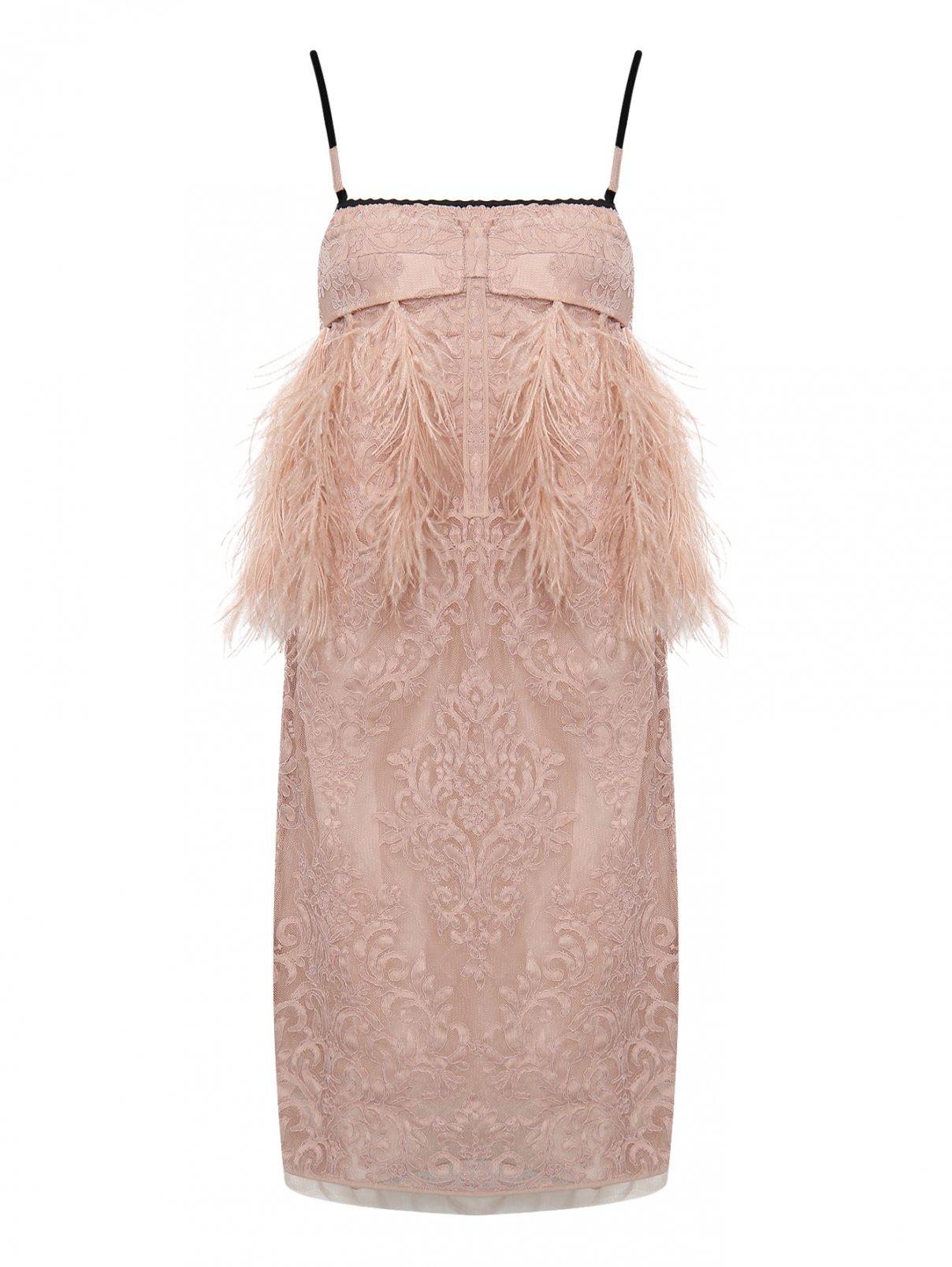 Платье с кружевным узором декорированное перьями N21  –  Общий вид