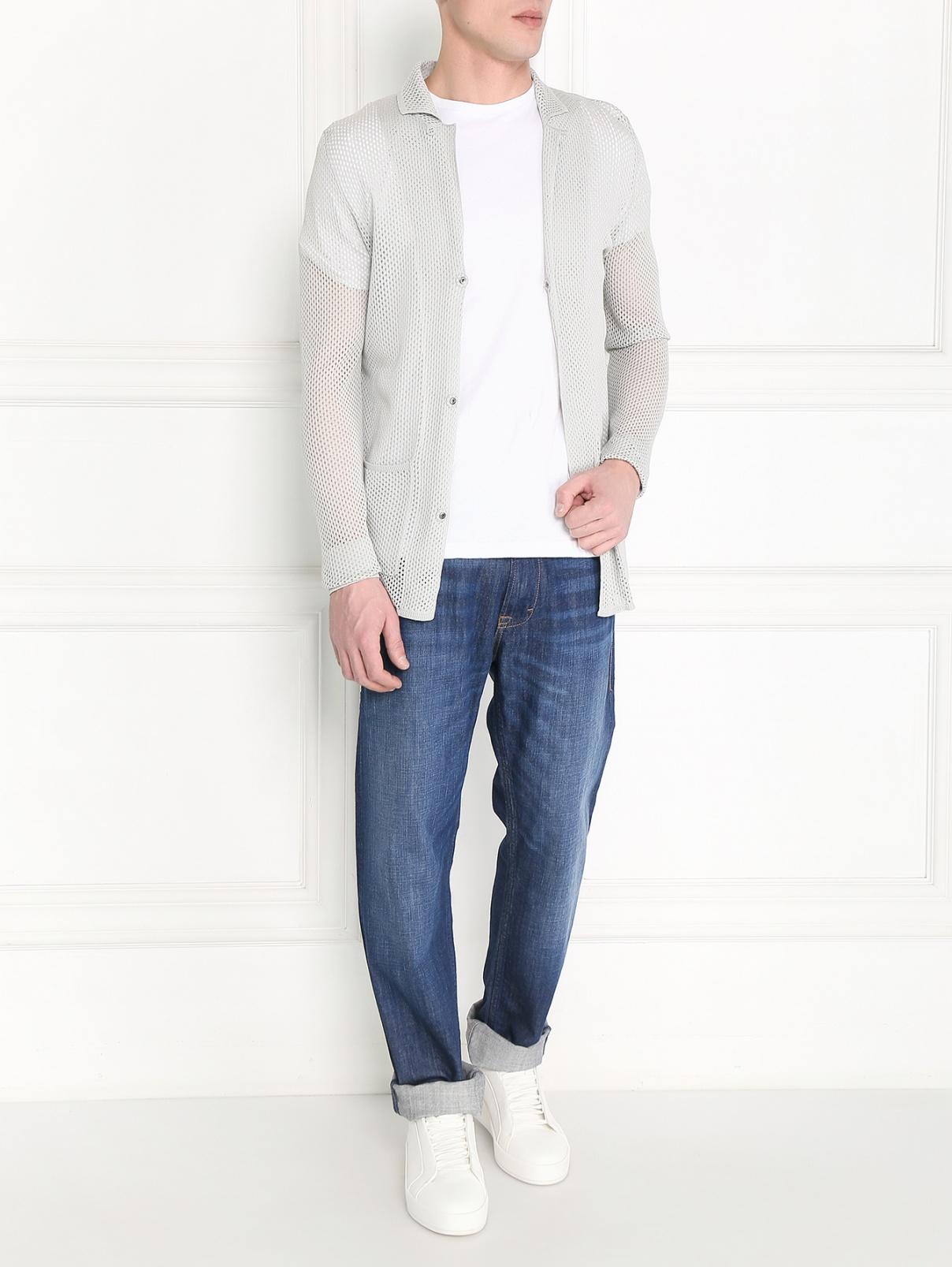 Кардиган перфорированный с накладными карманами Emporio Armani  –  Модель Общий вид