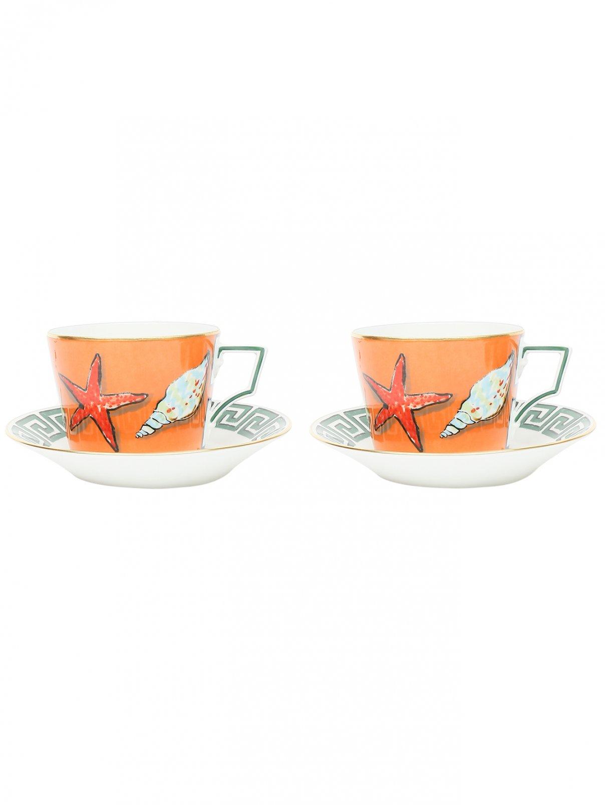 Набор чайный из двух чашек и двух блюдец с узором Richard Ginori 1735  –  Общий вид