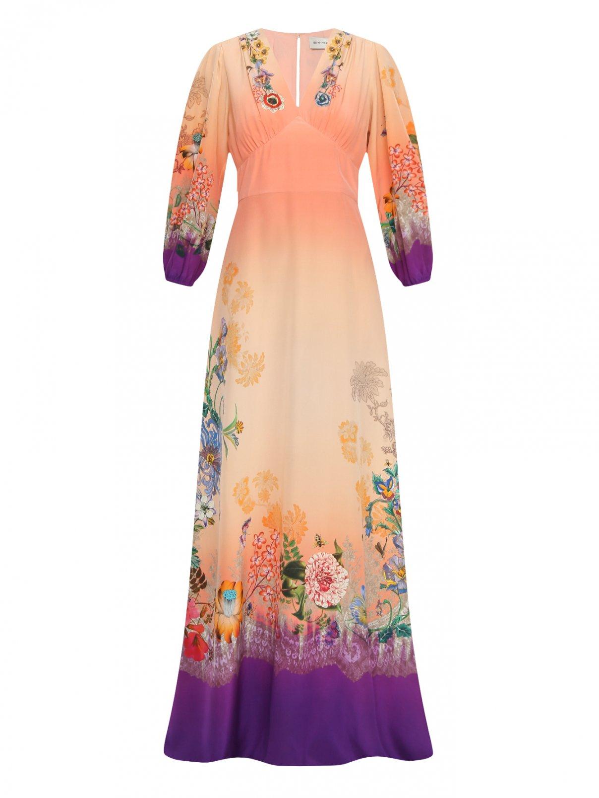 Платье-макси из шелка с цветочным узором Etro  –  Общий вид