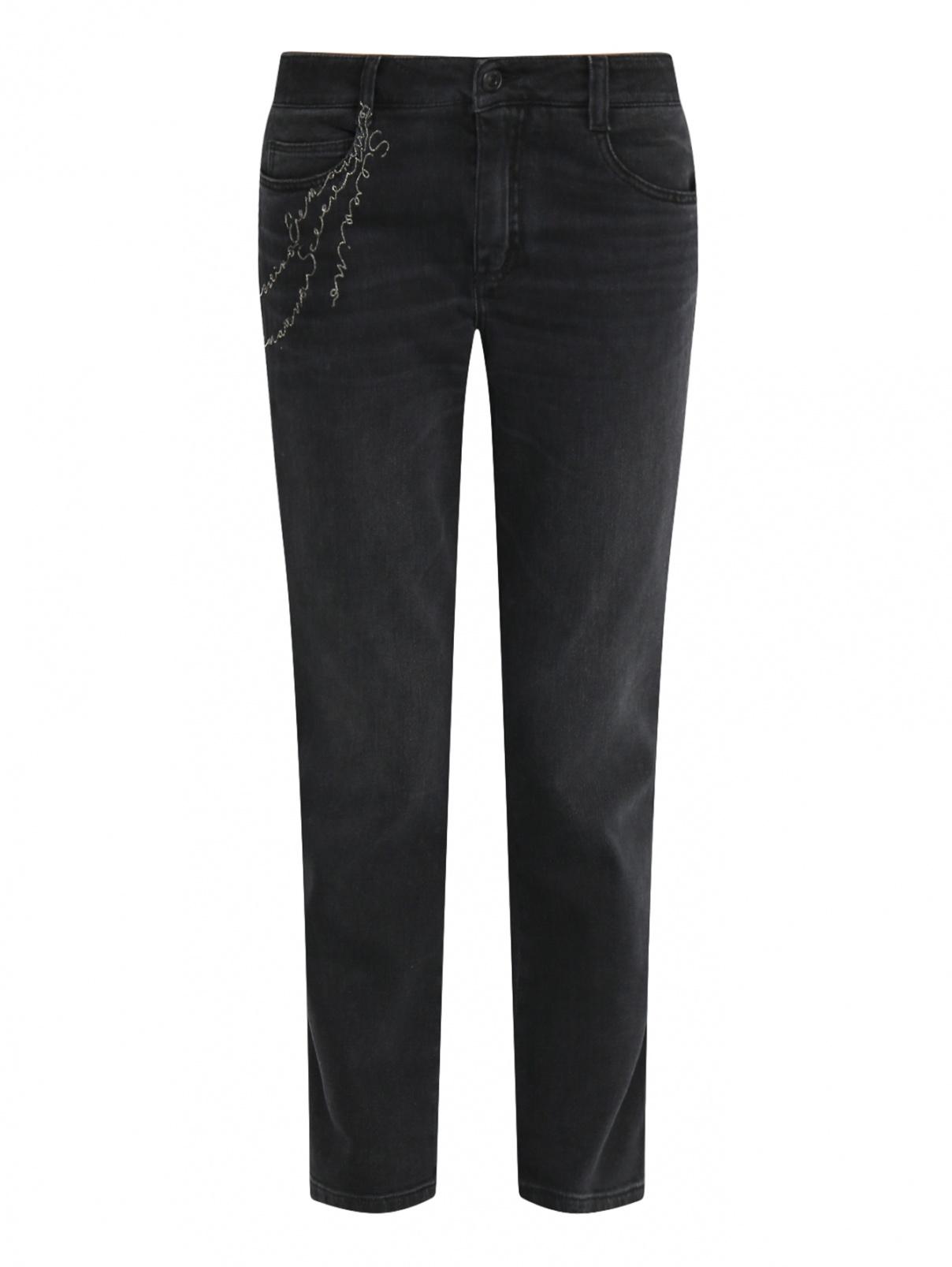Укороченные джинсы из темного денима с декоративной отделкой Ermanno Scervino  –  Общий вид