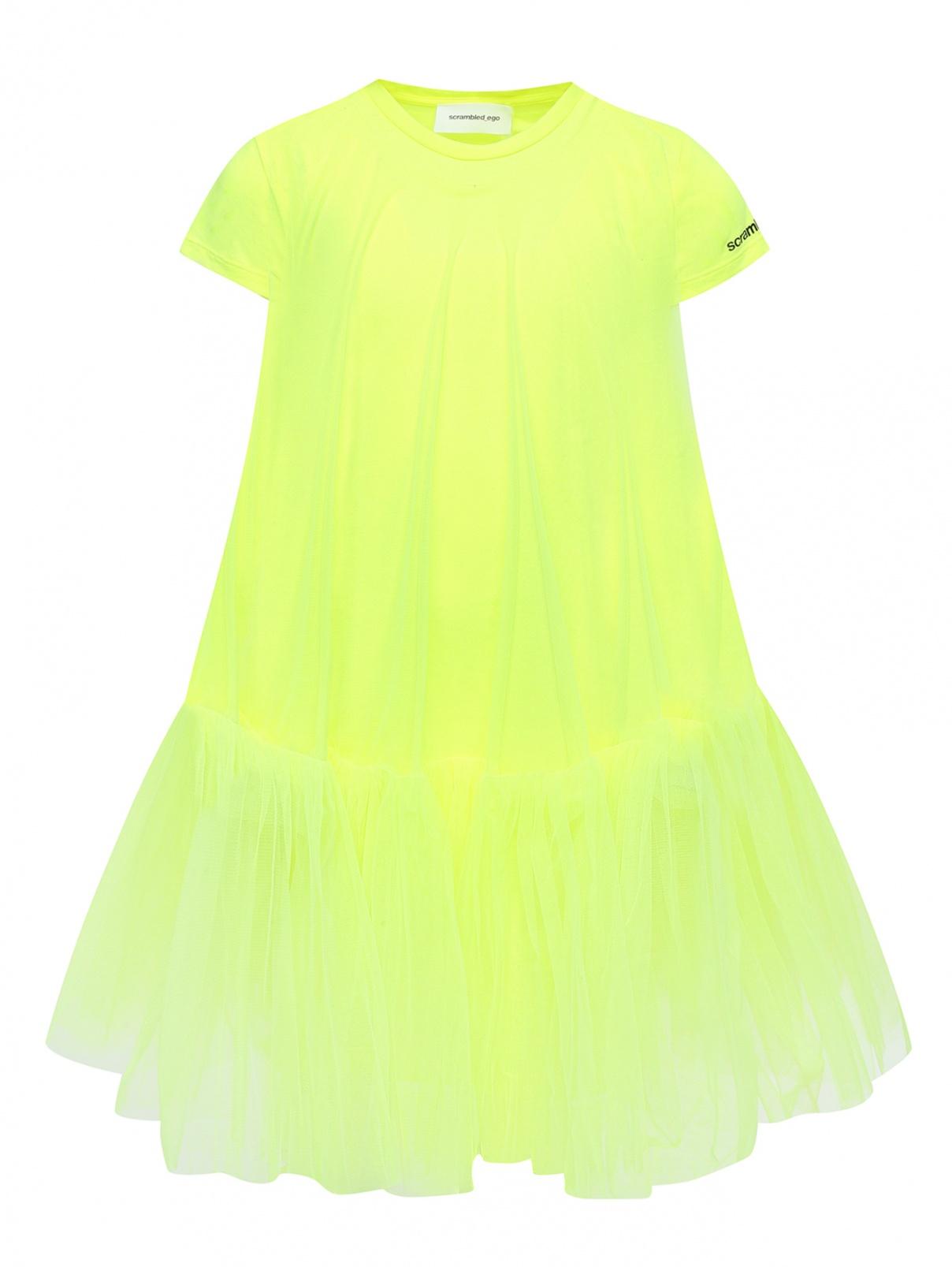 Трикотажное платье с сеткой и принтом SCRAMBLED_EGO  –  Общий вид
