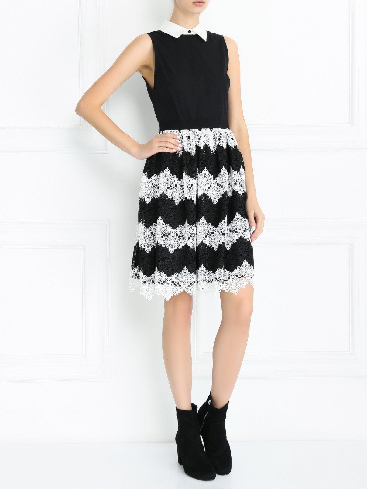 Платье-мини с отделкой из кружева Alice+Olivia  –  Модель Общий вид