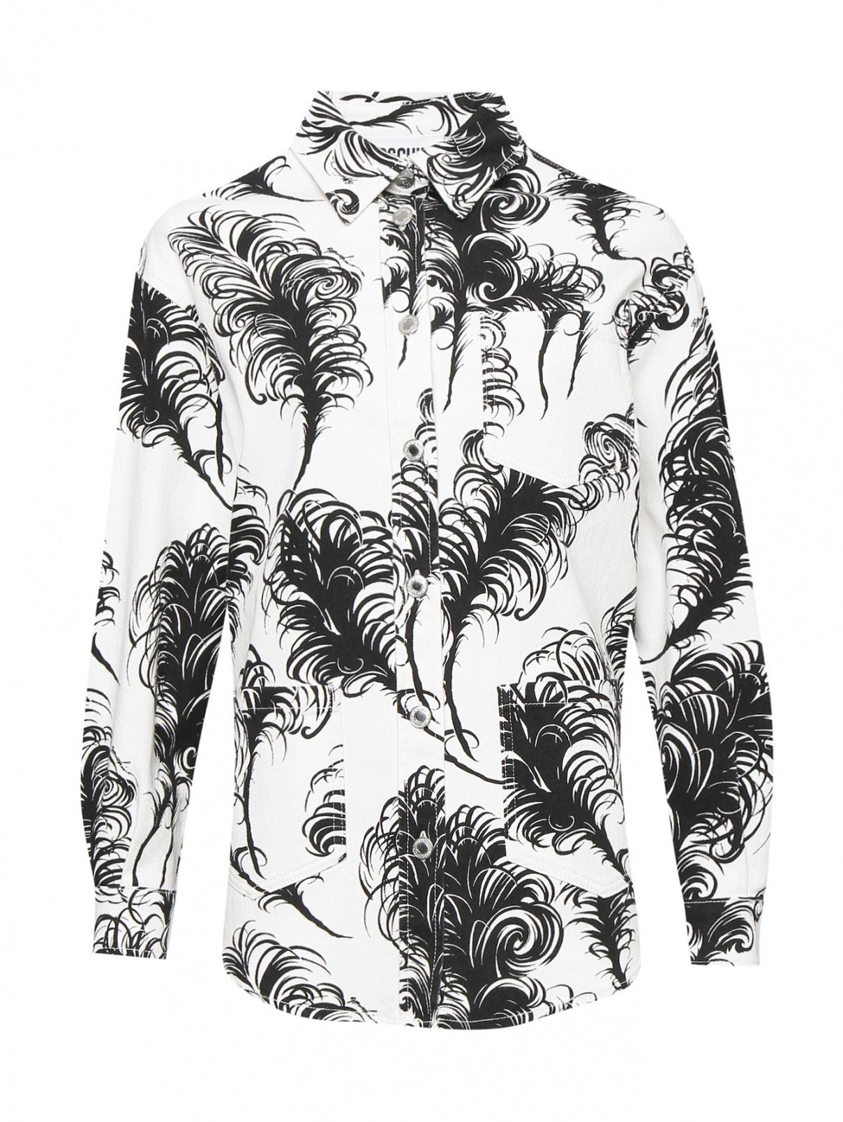 Джинсовая рубашка свободного кроя с узором Moschino  –  Общий вид