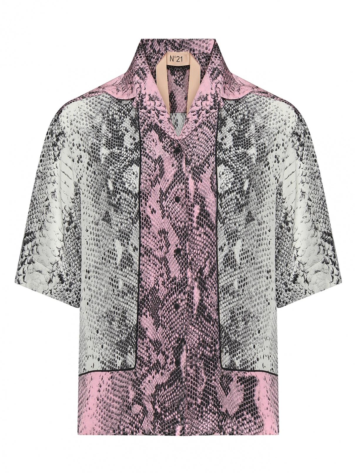 Блуза шелковая с животным узором N21  –  Общий вид