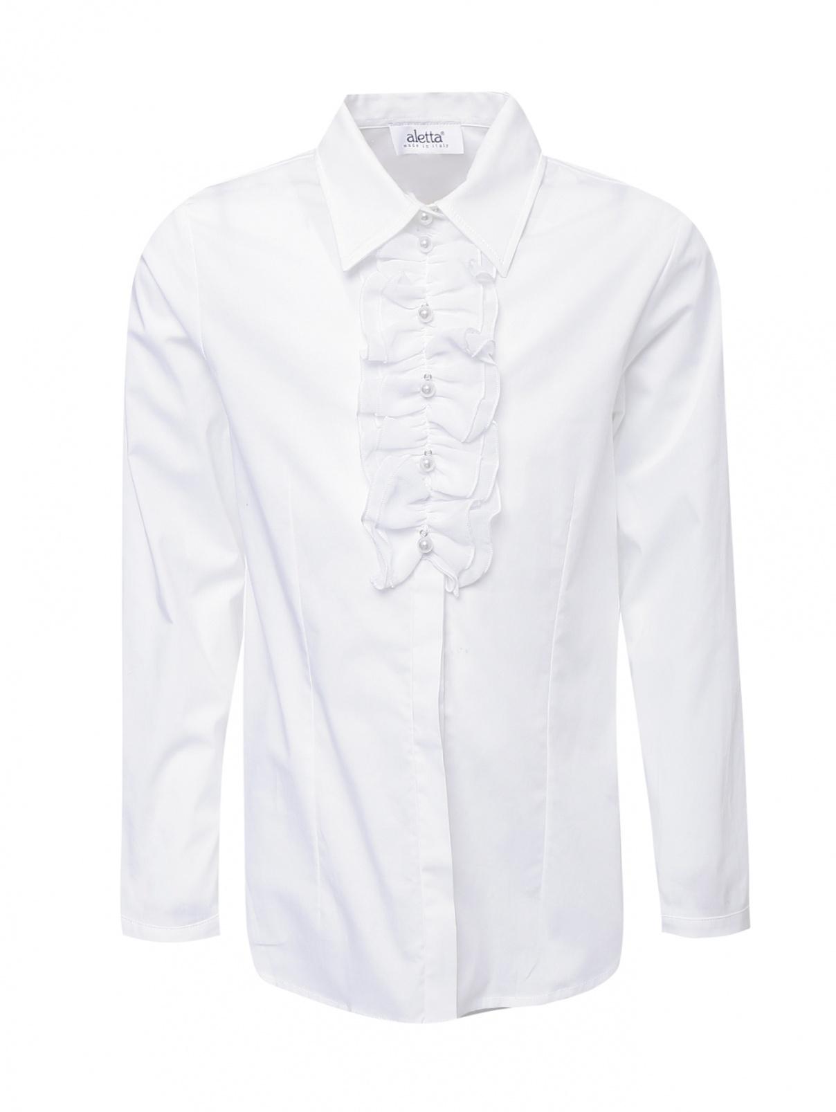 Рубашка хлопковая с жабо Aletta Couture  –  Общий вид