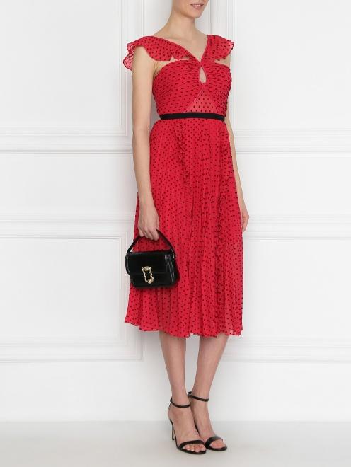 Платье-бандо с плиссированной юбкой - Общий вид