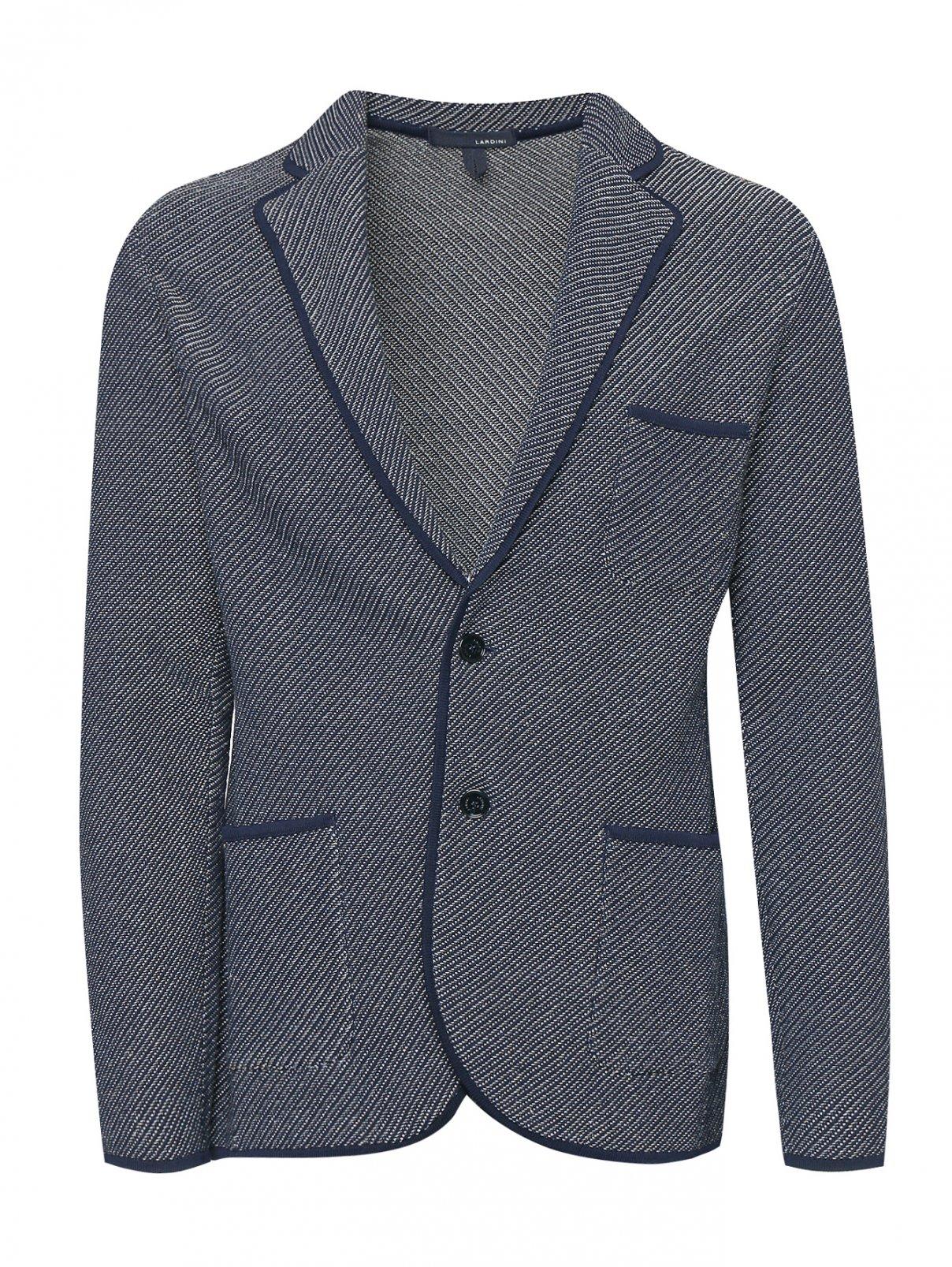 Трикотажный пиджак из хлопка и льна с узором LARDINI  –  Общий вид