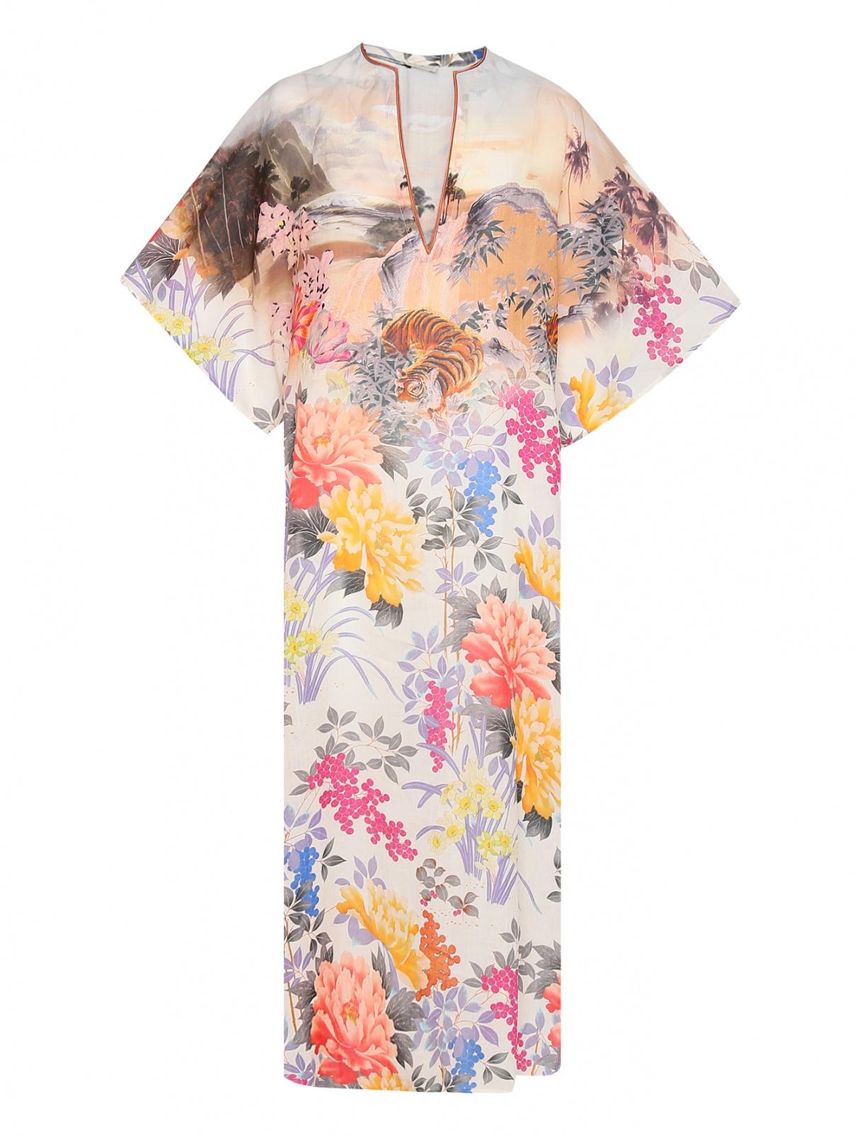 Платье свободного кроя с узором и разрезами Etro  –  Общий вид