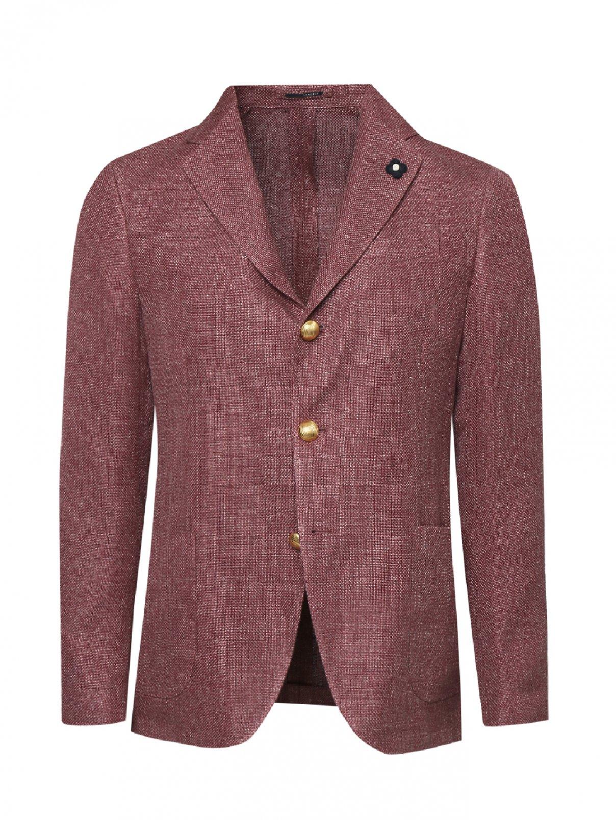 Пиджак льняной с накладными карманами LARDINI  –  Общий вид