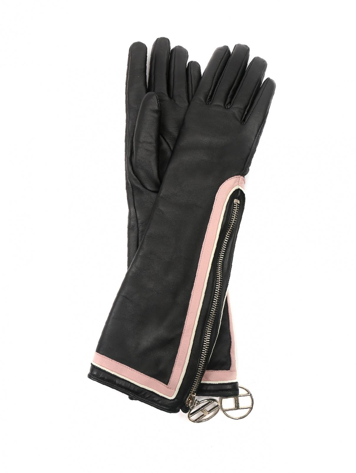 перчатки кожаные с контрастными вставками Elisabetta Franchi  –  Общий вид