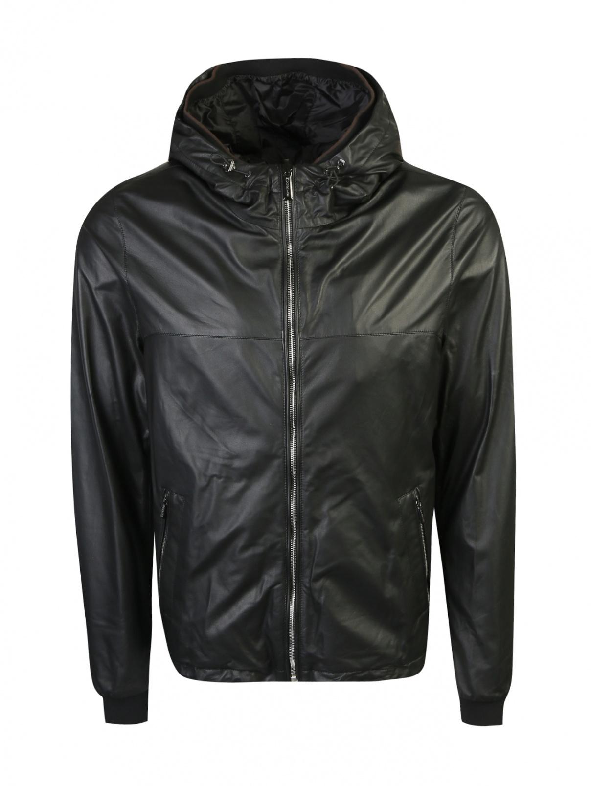 Куртка из кожи на молнии с капюшоном Moorer  –  Общий вид