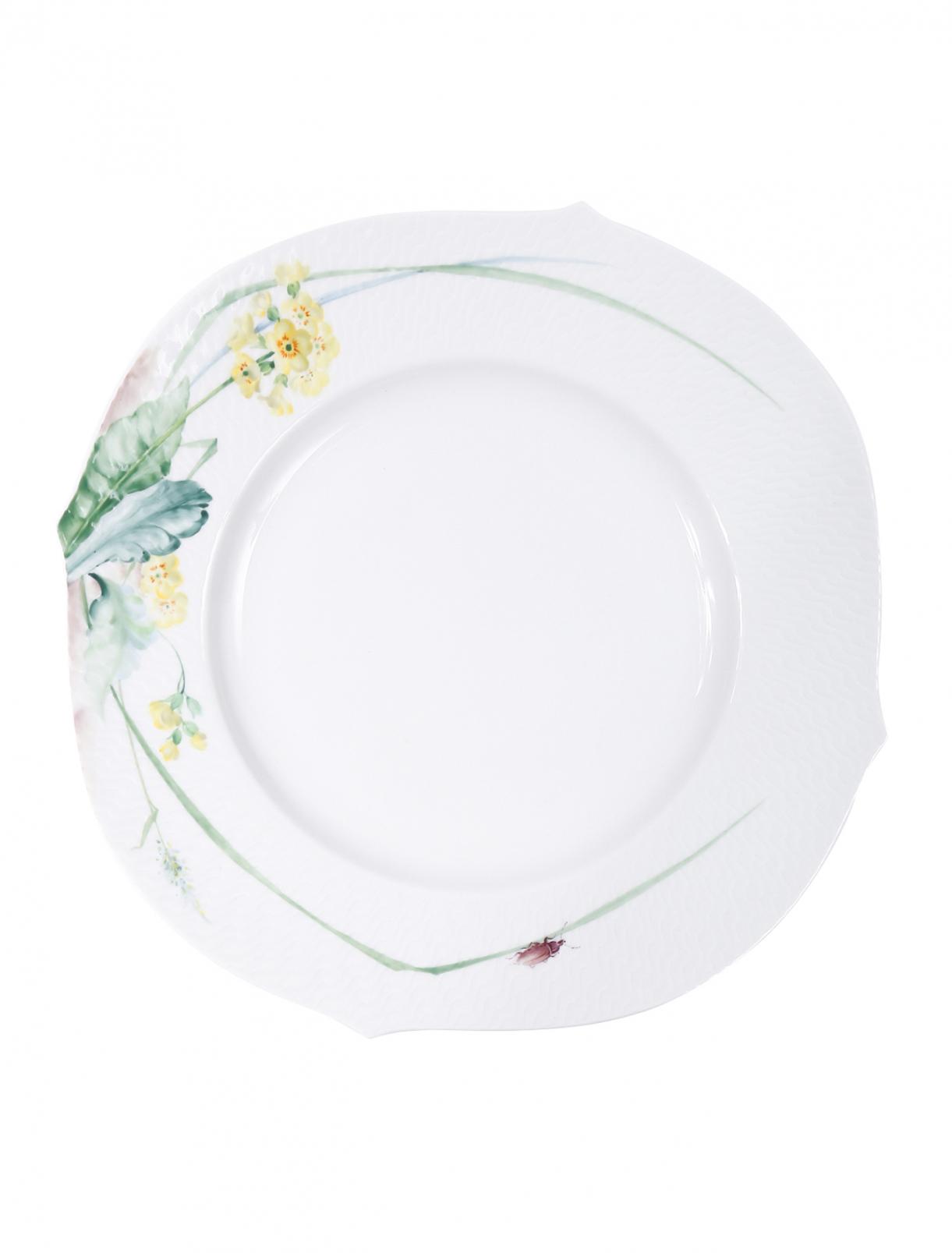 Тарелка обеденная из фарфора с растительным узором Meissen  –  Общий вид