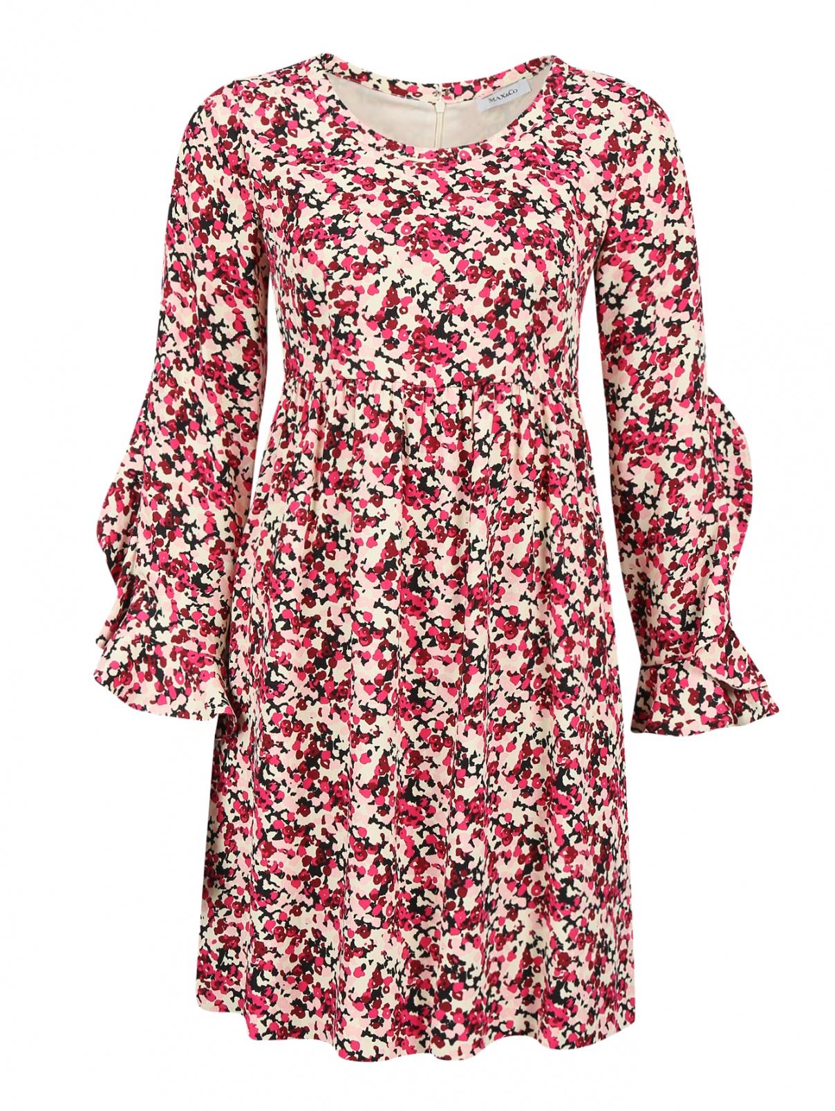 Платье-мини из вискозы с цветочным узором Max&Co  –  Общий вид