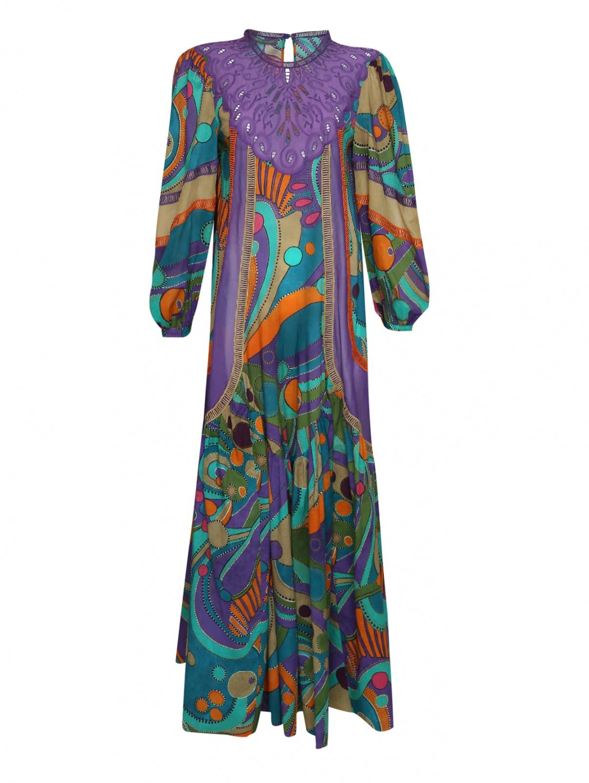 Платье макси из хлопка с узором Alberta Ferretti  –  Общий вид