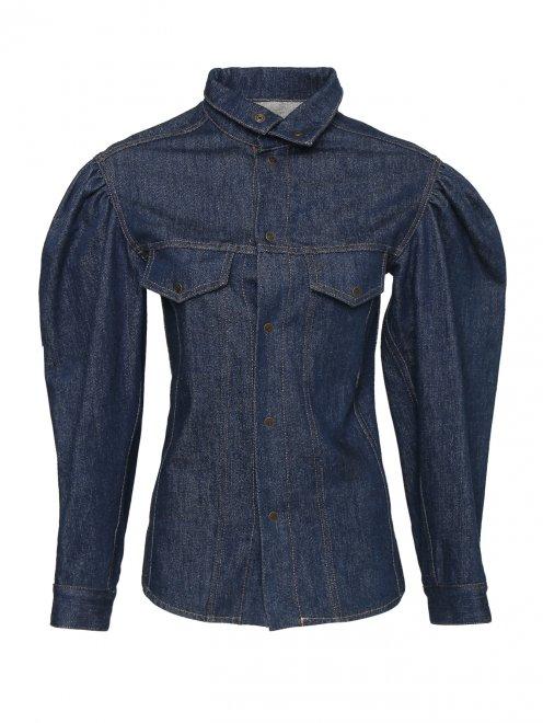 Рубашка из темного денима с объемными рукавами - Общий вид