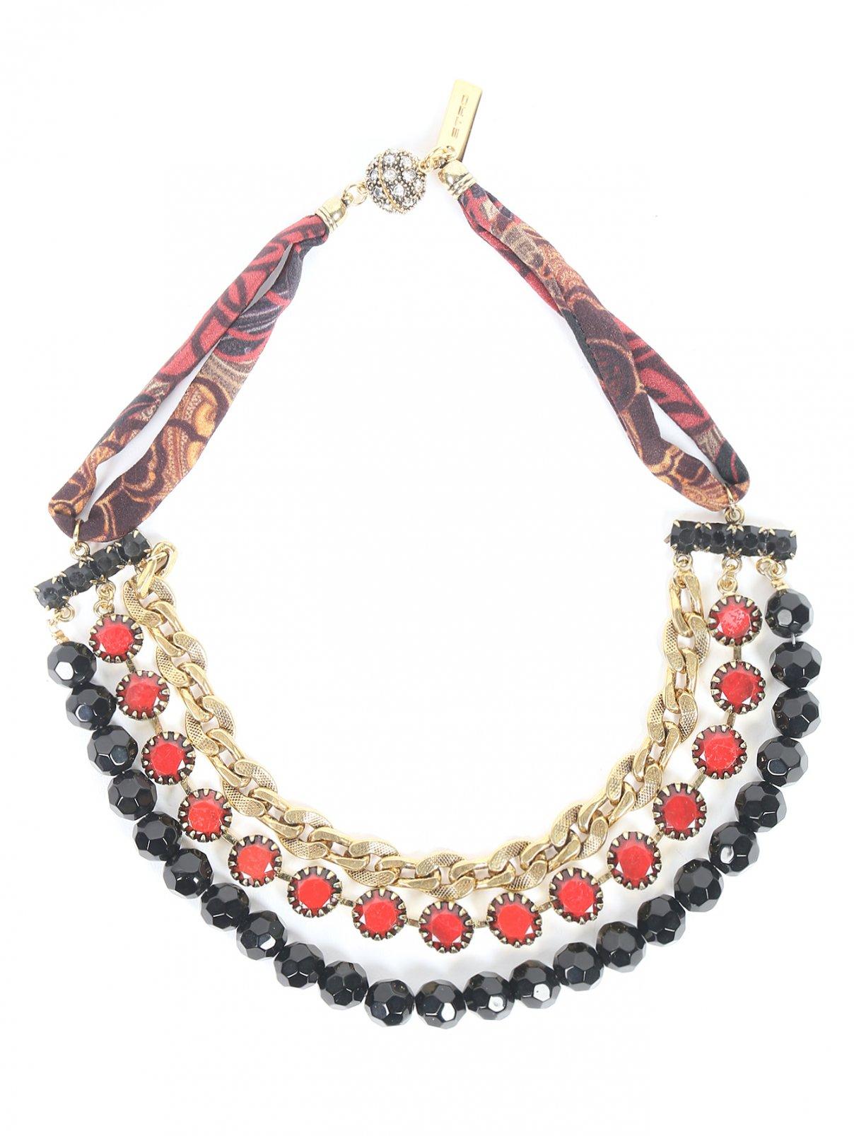 Ожерелье из металла и шелка декорированное кристаллами Etro  –  Общий вид