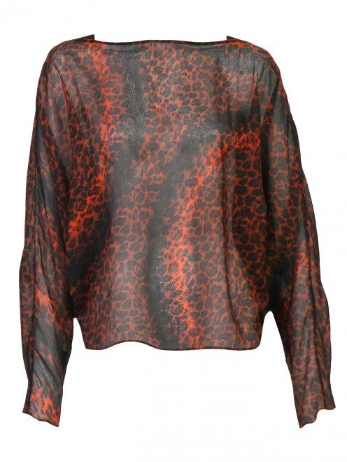 Блуза из шелка с анималистичным узором - Общий вид