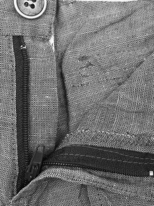 Брюки из хлопка и льна с эффектом креш - Деталь1