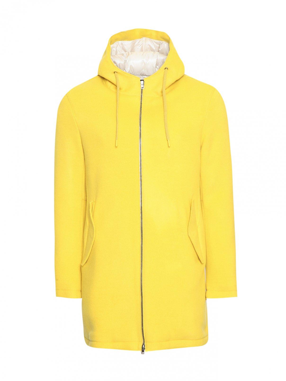 Пальто пуховое из шерсти на молнии с капюшоном Herno  –  Общий вид