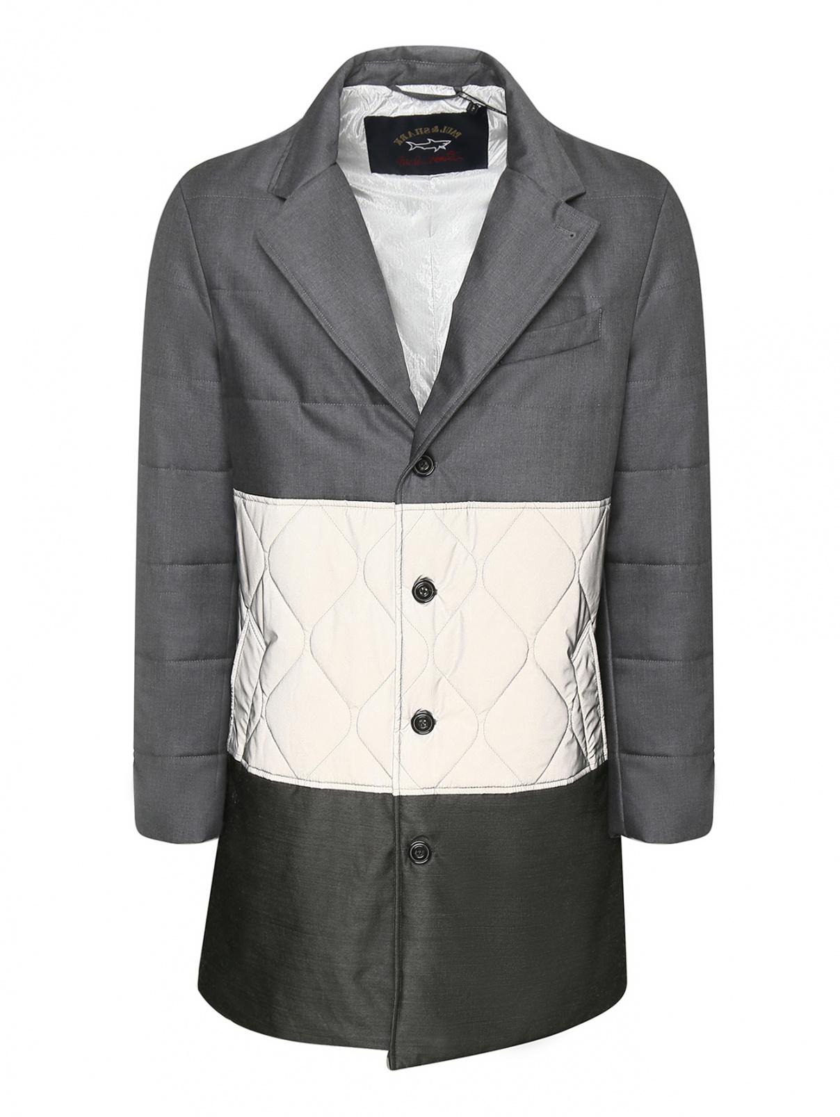 Утепленное пальто с контрастной вставкой Paul&Shark  –  Общий вид