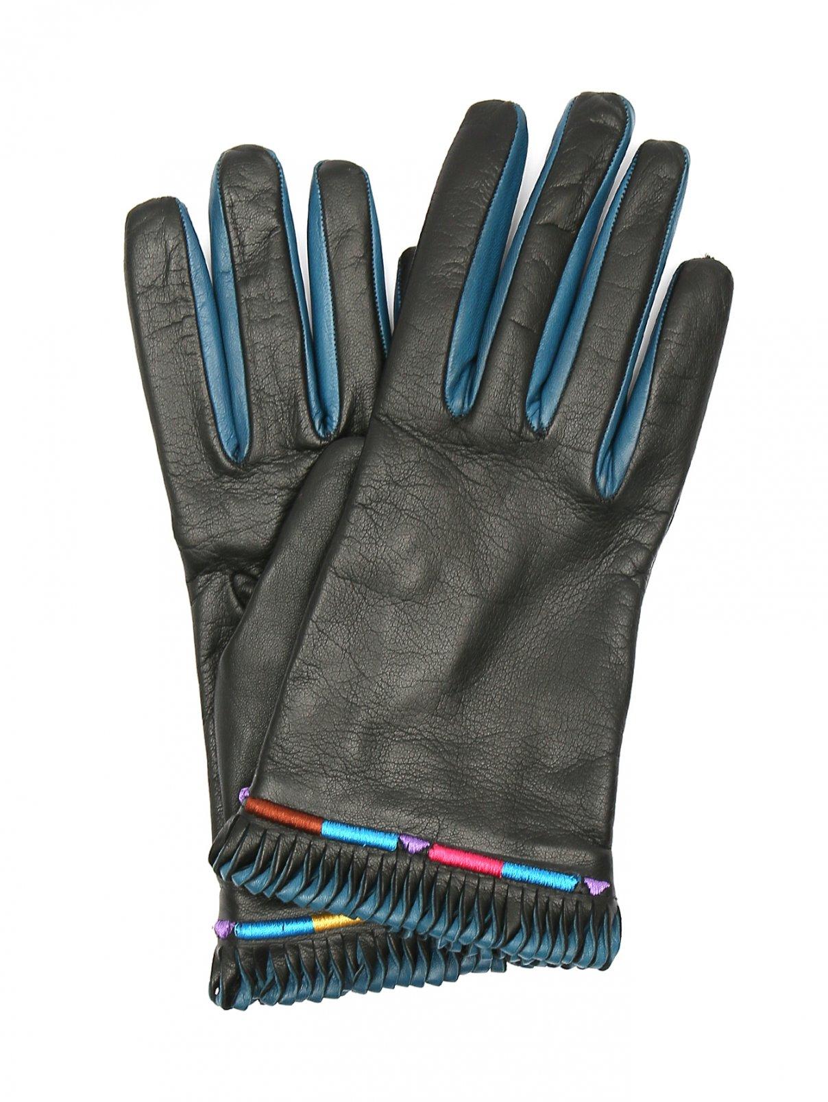 Перчатки из гладкой кожи с контрастной отделкой Etro  –  Общий вид