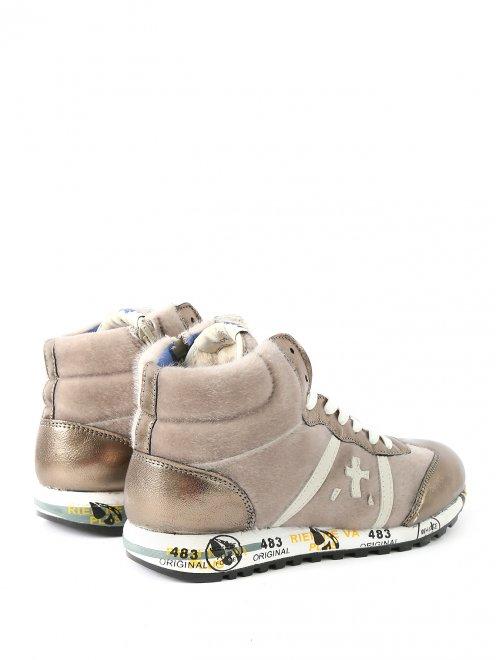 Высокие кроссовки из бархата с кожаными вставками - Обтравка2