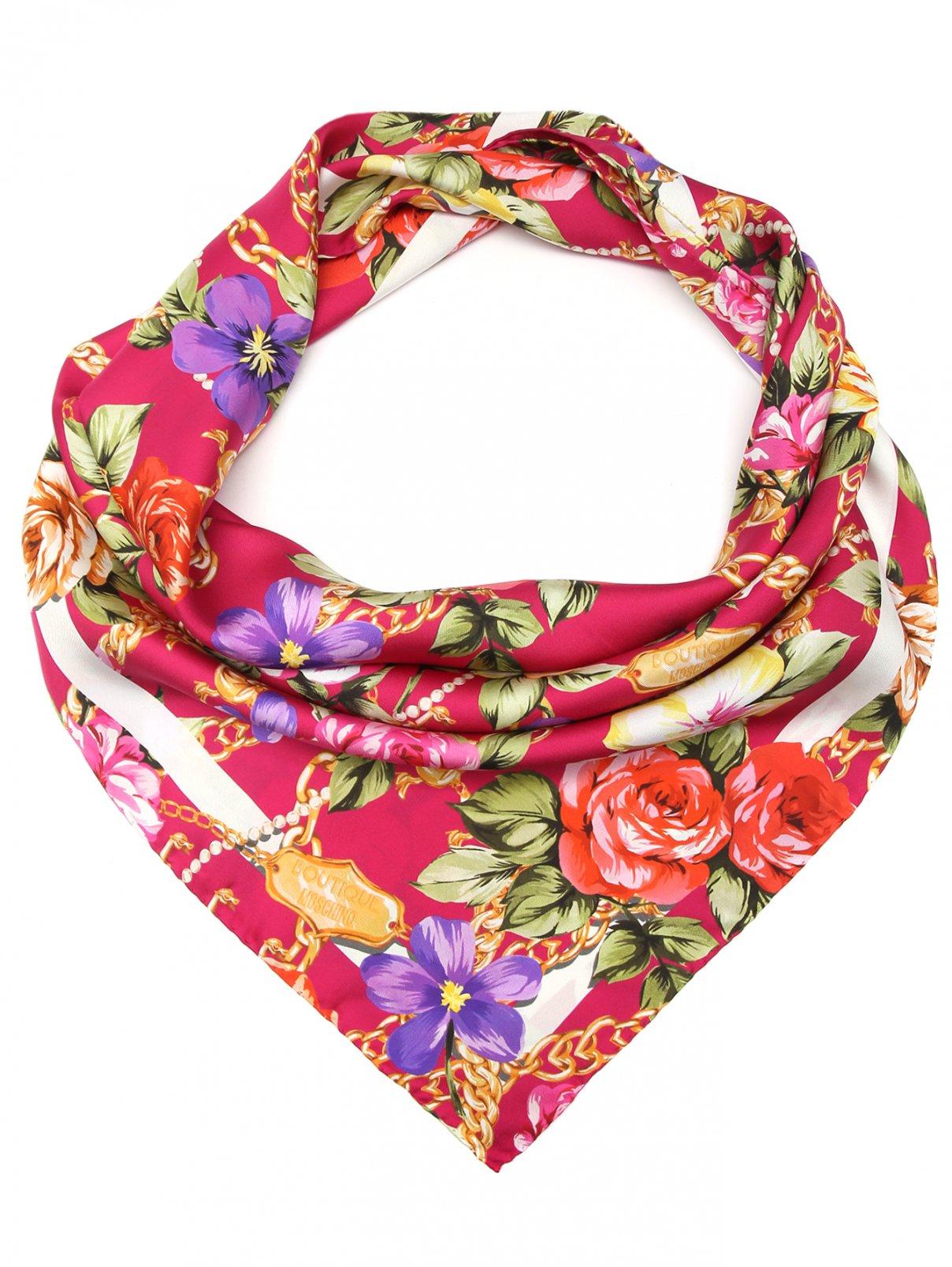Платок из шелка с цветочным узором Moschino  –  Общий вид
