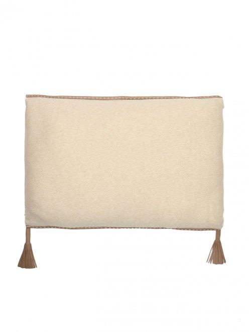 Подушка из кашемира с окантовкой из кожи и наполнителем содержащим шерсть верблюда Agnona - Общий вид