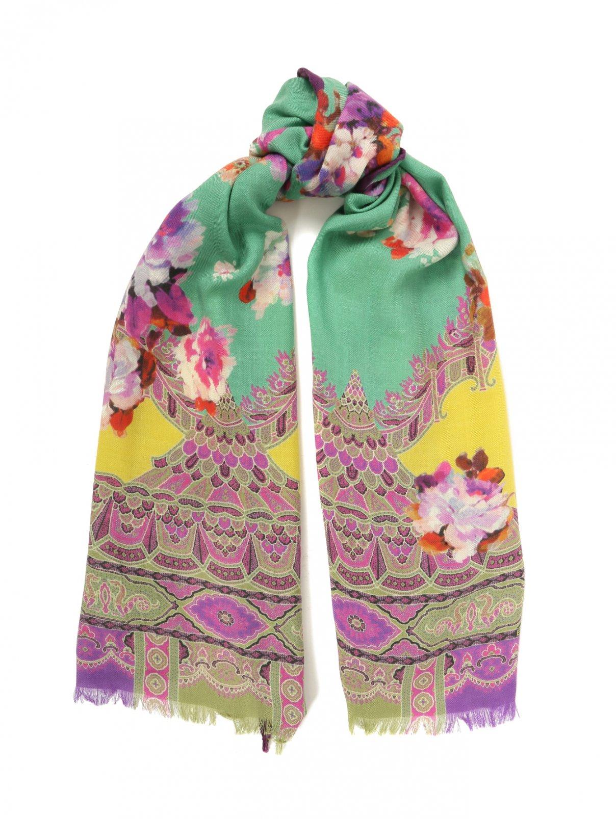 Шарф из шерсти и шелка с цветочным узором Etro  –  Общий вид