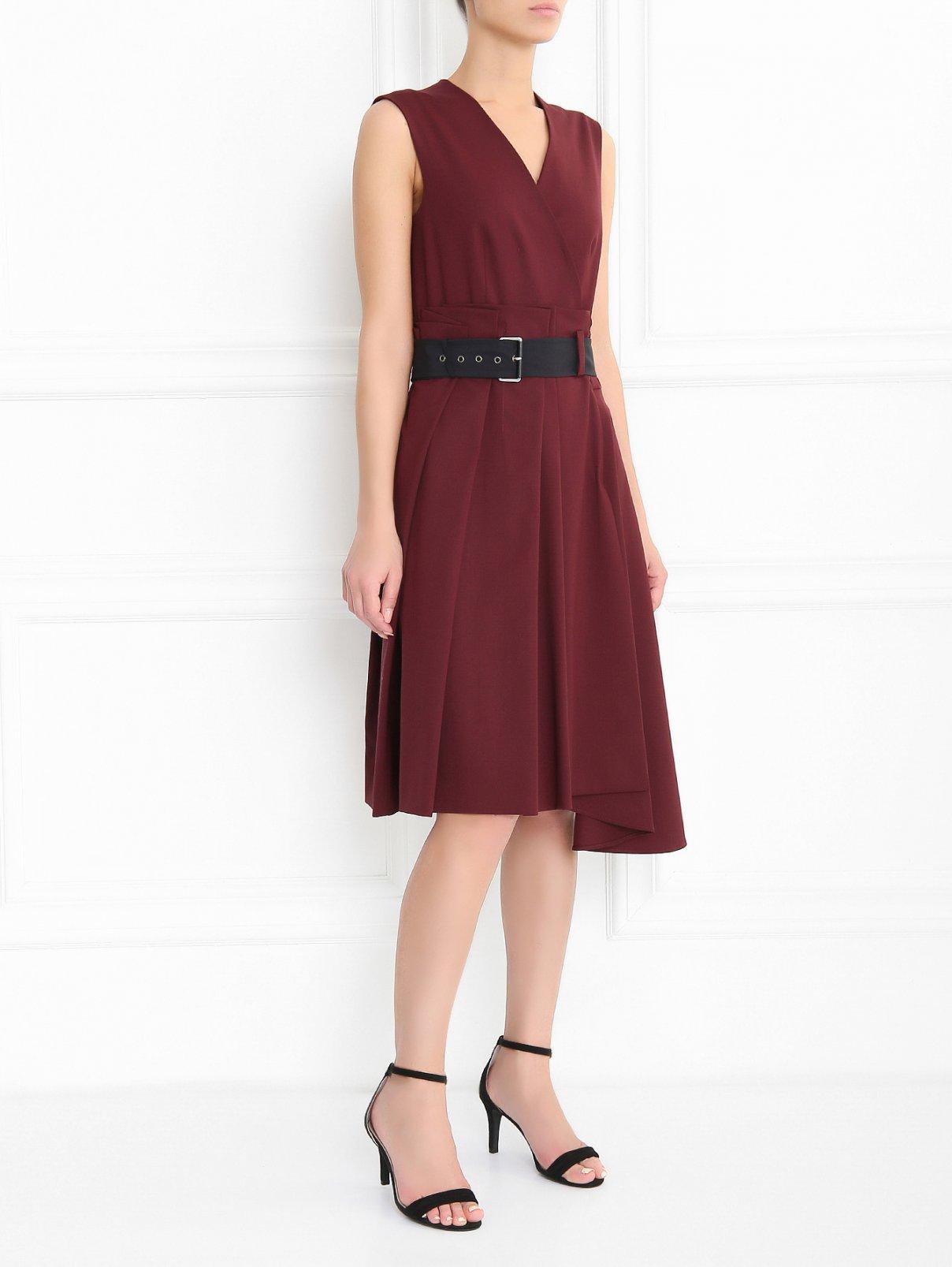 Платье из шерсти с ремнем Sportmax  –  Модель Общий вид