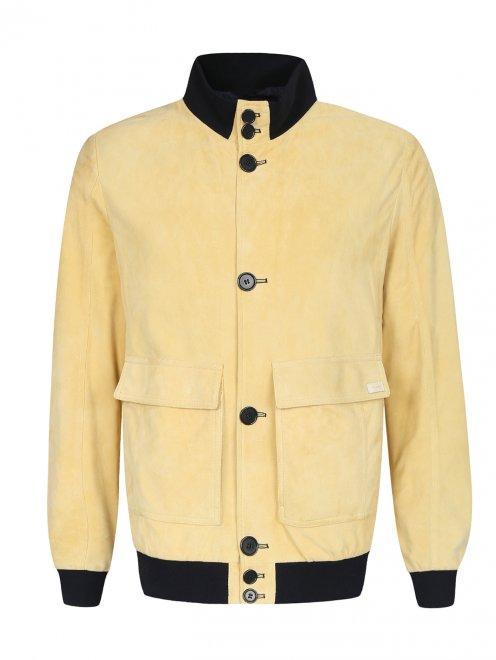 Куртка кожаная на пуговицах  - Общий вид